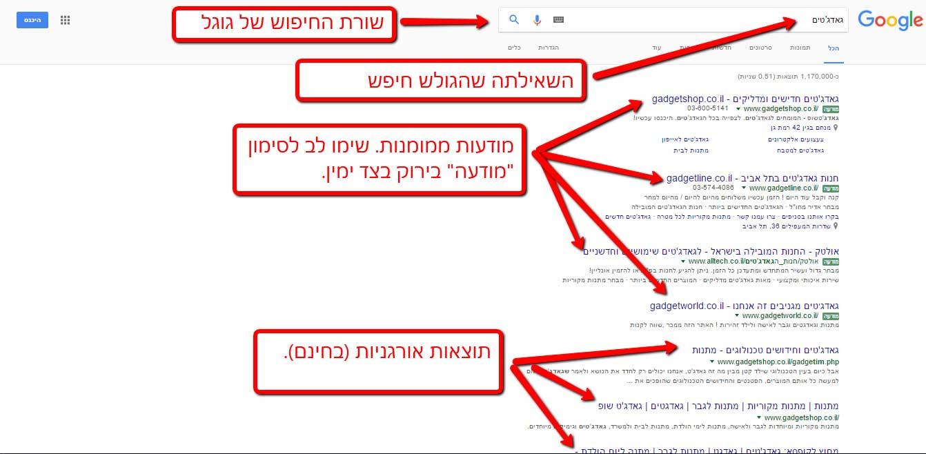 ראש דף תוצאות החיפוש בגוגל